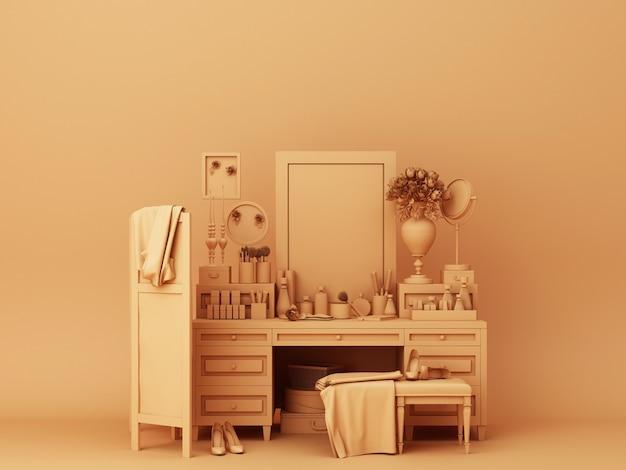 Renderização 3d de decorações de console laranja Foto Premium