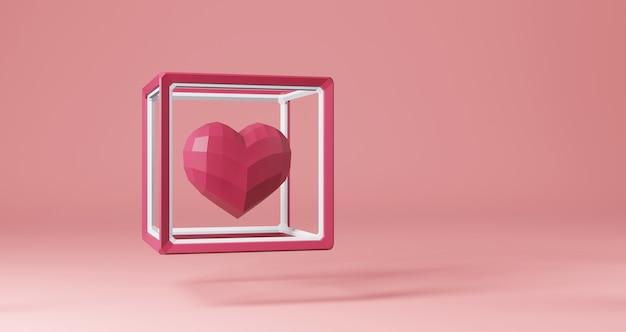 Renderização 3d de dia dos namorados. corações rosa flutuando no quadro do cubo em fundo rosa, minimalista. símbolo de amor render 3d moderno. Foto Premium