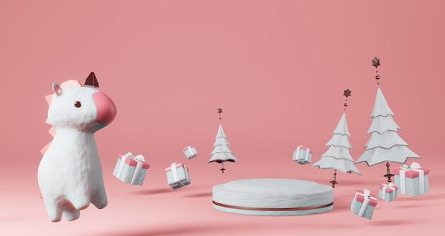 Renderização 3d de dia dos namorados. pedestal de neve cercado por árvores de natal, caixas de presente e unicórnios, minimalista. símbolo de amor render 3d moderno. Foto Premium