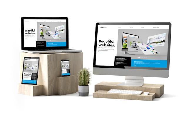 Renderização 3d de dispositivos isolados sobre cubos de madeira, mostrando o site do construtor responsivo Foto Premium