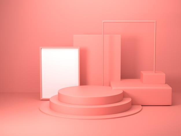 Renderização 3d de forma geométrica de cor rosa abstrata, maquete minimalista moderna para exibição no pódio ou vitrine Foto Premium