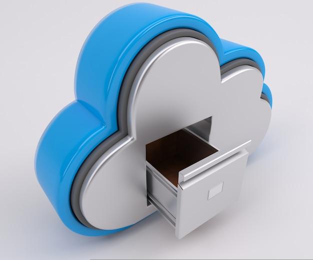 Renderização 3d de ícone de unidade de nuvem com armário de arquivamento Foto Premium