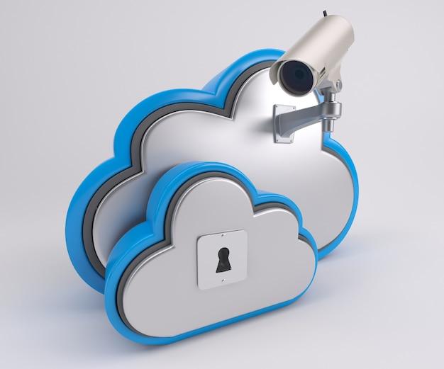 Renderização 3d de ícone de unidade de nuvem com câmera de segurança Foto Premium