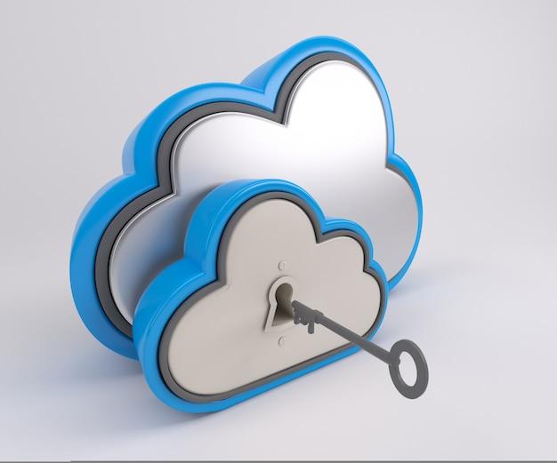 Renderização 3d de ícone de unidade de nuvem com trava e chave Foto Premium