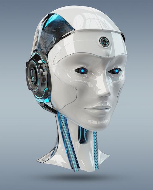 Renderização 3d de inteligência artificial cabeça ciborgue Foto Premium