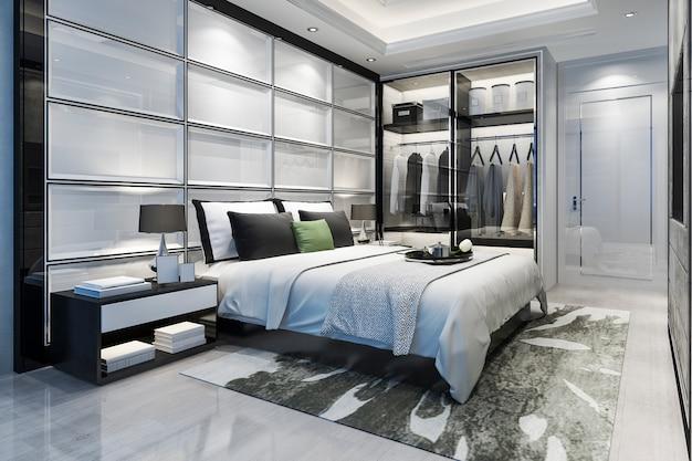 Renderização 3d de luxo moderno quarto suite tv com roupeiro e closet Foto Premium