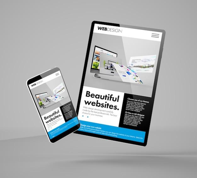 Renderização 3d de maquete de smartphone e tablet voando mostrando o site do construtor Foto Premium