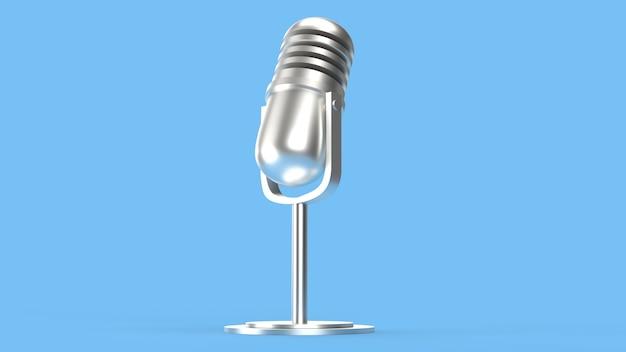 Renderização 3d de microfone vintage para conteúdo de podcast. Foto Premium