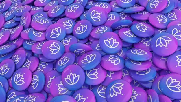 Renderização 3d de muitos comprimidos coloridos com o logotipo da flor de lótus em uma visualização de perto Foto Premium