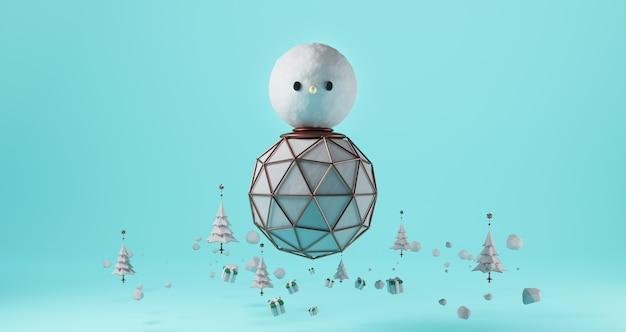 Renderização 3d de natal. boneco de neve gigante flutuando sobre fundo azul. rodeado por árvores de natal e caixas de presente, conceito minimalista abstrato, luxo minimalista Foto Premium