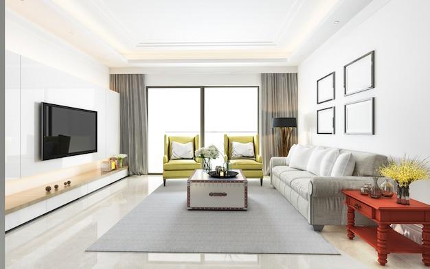 Renderização 3d de sala de estar moderna de luxo Foto Premium