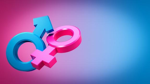 Renderização 3d de símbolos sexuais masculinos e femininos iguais ou que vivem juntos. Foto Premium
