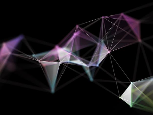 Renderização 3d de um design de baixo poli plexo, formação científica hi tec Foto gratuita