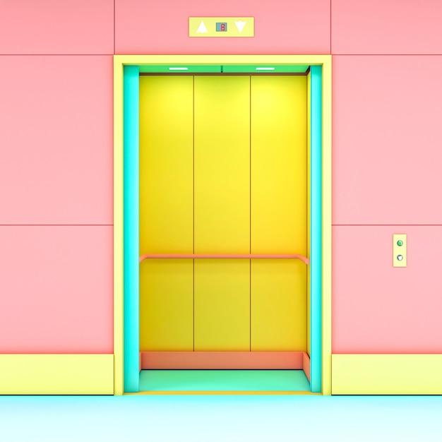 Renderização 3d de um elevador moderno Foto Premium