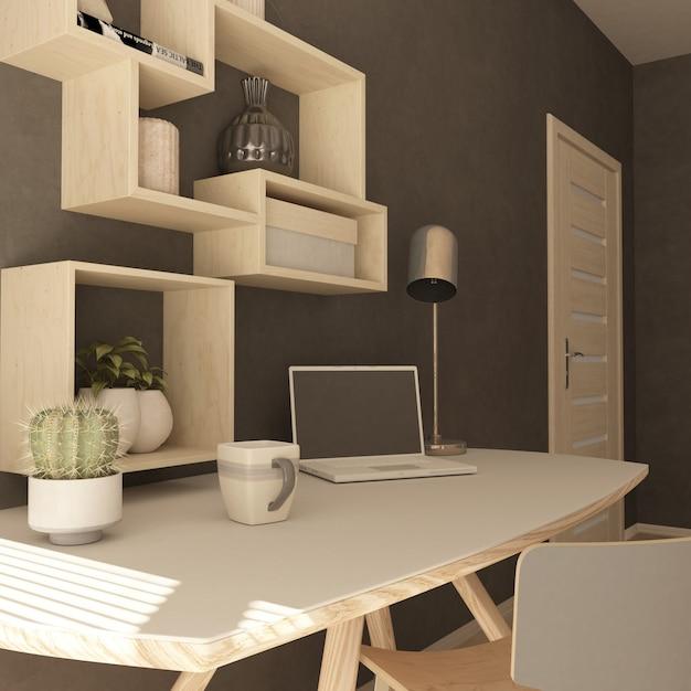 Renderização 3d de um escritório em casa moderna Foto gratuita