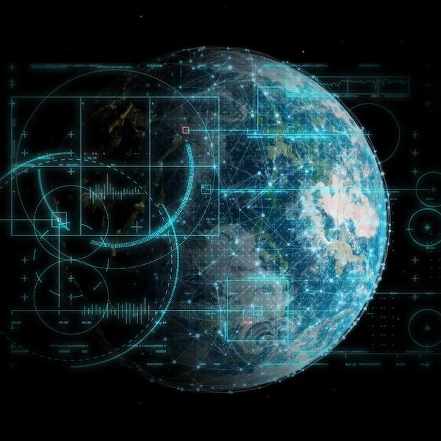 Renderização 3d de um fundo de tecnologia global e comunicações de rede Foto gratuita