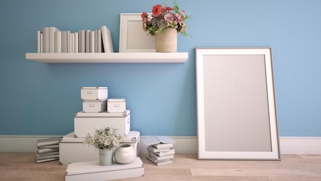 Renderização 3d de um interior de casa no processo de decoração com uma moldura de pôster simulada Foto Premium