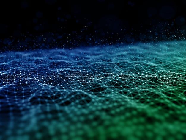 Renderização 3d de uma comunicação de rede moderna com linhas de conexão e estrutura de pontos Foto gratuita