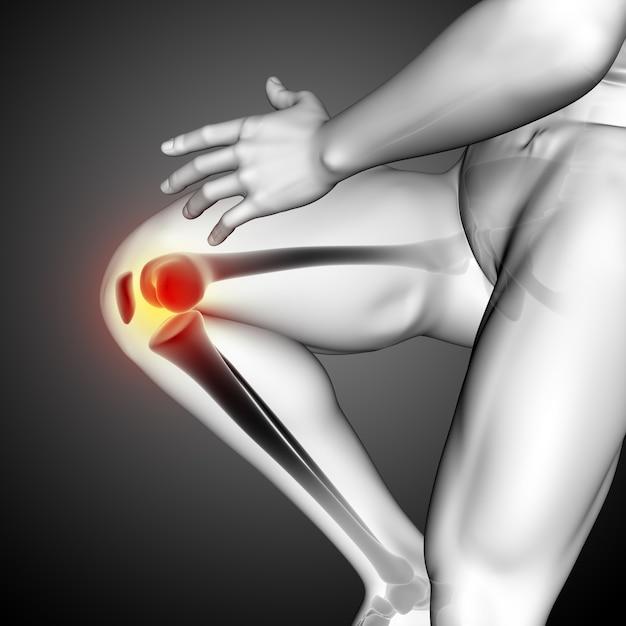 Renderização 3d de uma figura médica masculina com close-up do osso do joelho Foto gratuita