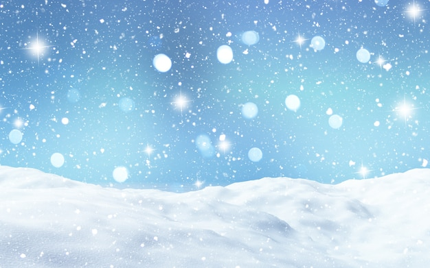 Renderização 3d de uma paisagem de neve Foto gratuita