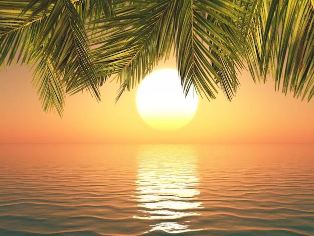 Renderiza o 3d de uma paisagem tropical ao p r do sol for Rendering 3d gratis