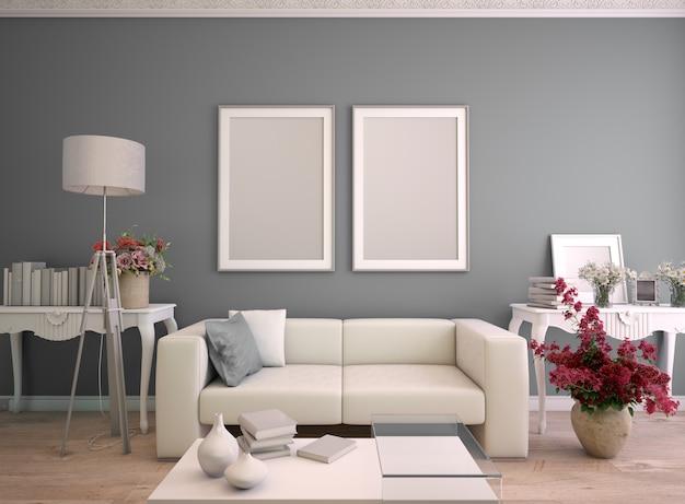 Renderização 3d de uma sala de estar com duas molduras de pôster simuladas Foto Premium