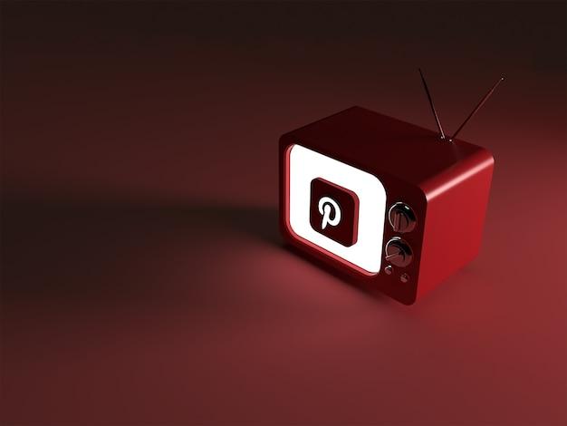 Renderização 3d de uma tv com o logotipo brilhante do pinterest Foto Premium