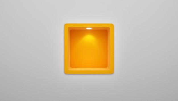 Renderização 3d de vazio arredondado nicho prateleira exposição na parede Foto Premium