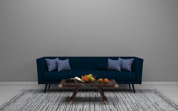 Renderização 3d do interior da moderna sala de estar com sofá - sofá e mesa Foto Premium