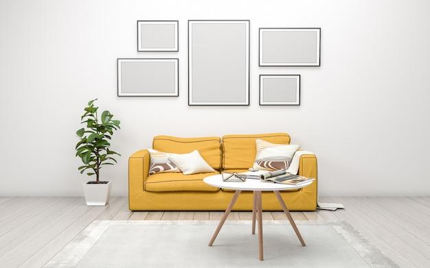 Renderização 3d do interior da moderna sala de estar com sofá, sofá e mesa Foto Premium