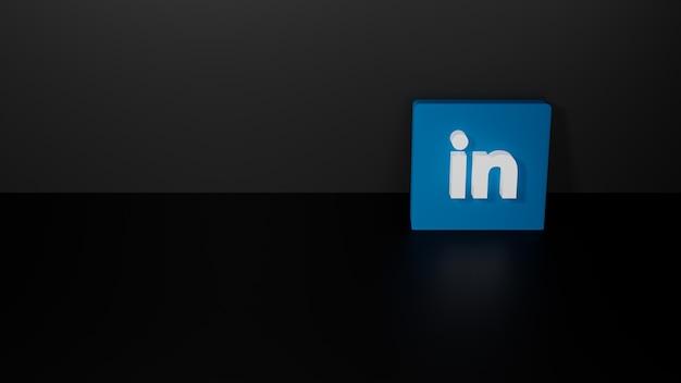 Renderização 3d do logotipo brilhante do linkedin em fundo preto escuro Foto Premium