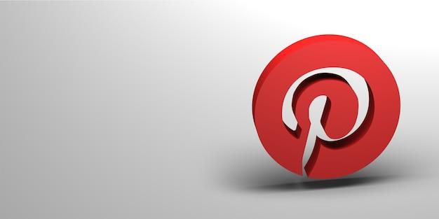 Renderização 3d do logotipo da mídia social Foto Premium