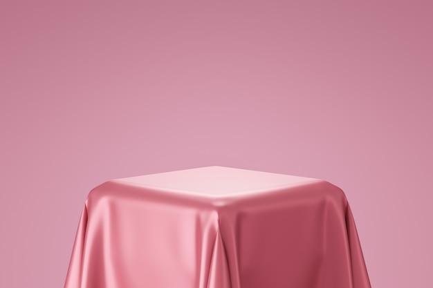 Renderização 3d do pódio com tecido de seda rosa Foto Premium