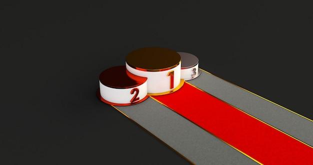 Renderização 3d do pódio de vencedores. pódio de ouro, prata e bronze com confete. Foto Premium
