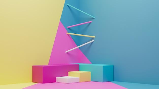 Renderização 3d do pódio geométrico colorido e papel de parede moderno Foto Premium