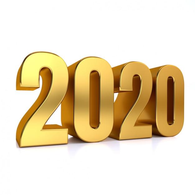 Renderização 3d em ouro 2020 Foto Premium