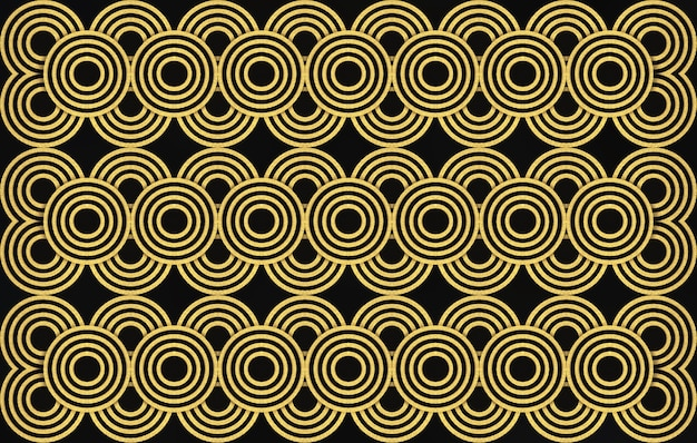 Renderização 3d. fundo do projeto da parede do teste padrão do anel do círculo dourado sem emenda moderno luxuoso. Foto Premium