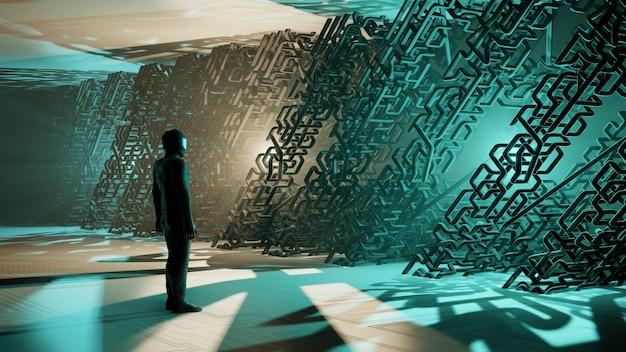 Renderização 3d interior de ficção científica um homem que um astronauta fica cercado por tubos de metal paisagem de uma fantástica cidade alienígena Foto Premium