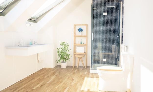 Renderização 3d interior do banheiro Foto Premium