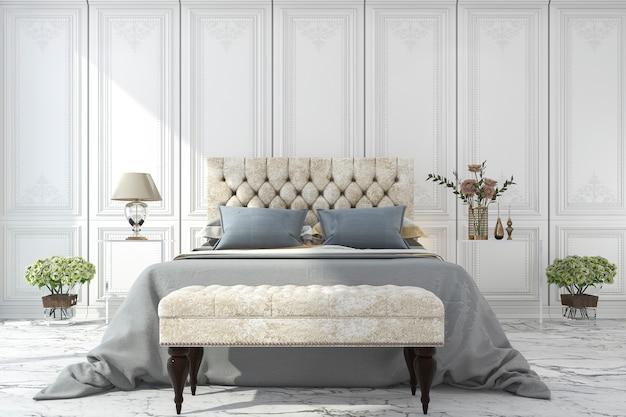 Renderização 3d luxo azul cama no quarto clássico branco Foto Premium