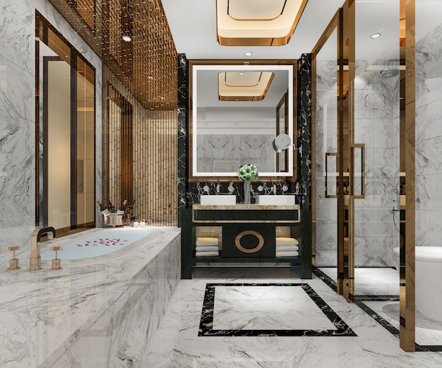 Renderização 3d luxo design moderno casa de banho e wc Foto Premium