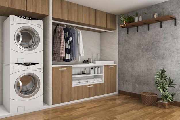 Renderização 3d, madeira, lavanderia, com, parede concreto Foto Premium