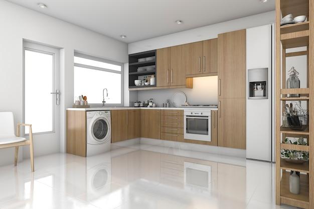 Renderização 3d, madeira, lavanderia moderna, e, cozinha Foto Premium