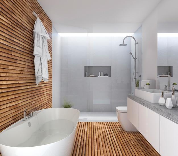 Renderização 3d madeira moderna casa de banho com design agradável Foto Premium