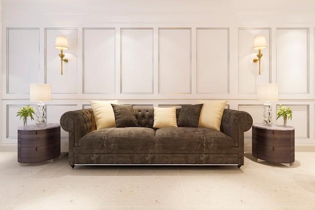 Renderização 3d mock up clássico estilo escandinavo sala de estar com sofá Foto Premium
