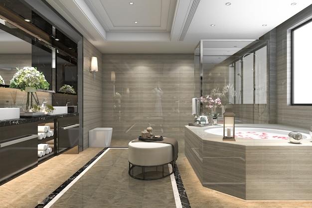 Renderização 3d moderna casa de banho clássica com decoração de azulejos de luxo com bela vista da janela Foto Premium