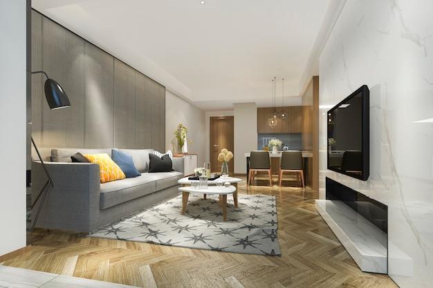 Renderização 3d moderna sala de jantar e cozinha com sala de estar com decoração de luxo Foto Premium
