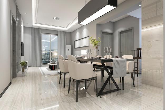 Renderização 3d moderna sala de jantar e sala de estar com decoração de luxo Foto Premium