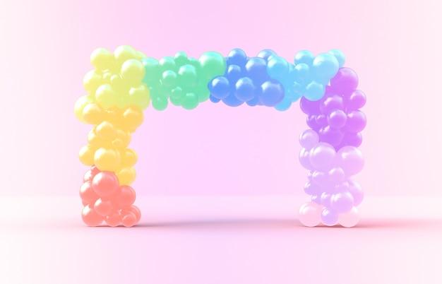 Renderização 3d. moldura quadrada doce arco-íris com pano de fundo de doces ballloons Foto Premium