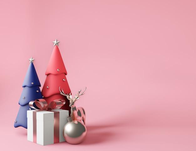 Renderização 3d pequena caixa de presente e árvores de natal rosa e azuis metálicas Foto Premium